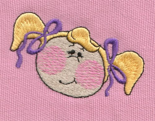 """Embroidery Design: Baby Girl Face3.05"""" x 1.98"""""""
