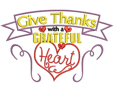 Embroidery Design: Give thanks with a grateful heart small 4.09w X 6.37h