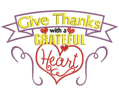 Embroidery Design: Give thanks with a grateful heart large 5.72w X 8.92h