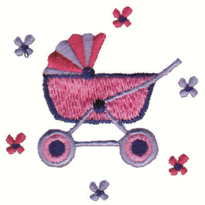 """Embroidery Design: Baby Buggy2.98"""" x 3.00"""""""