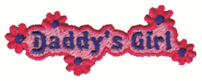 """Embroidery Design: Daddy's Girl3.32"""" x 1.26"""""""