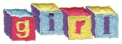 "Embroidery Design: Girl Blocks3.00"" x 1.00"""
