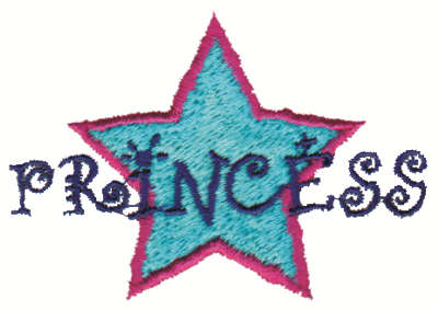 "Embroidery Design: Star Princess3.00"" x 2.05"""