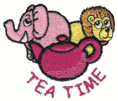 "Embroidery Design: Tea Time2.99"" x 2.56"""