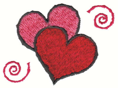 "Embroidery Design: Two Hearts3.00"" x 2.44"""