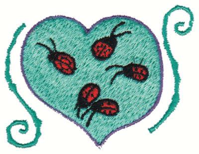 """Embroidery Design: Ladybug Heart3.00"""" x 2.44"""""""