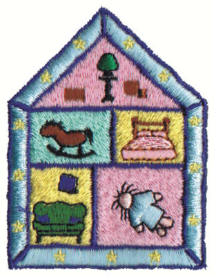 """Embroidery Design: Doll House2.31"""" x 3.02"""""""