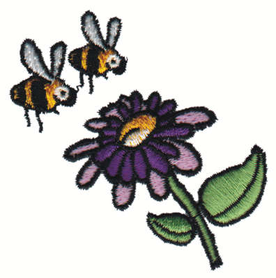 """Embroidery Design: Two Bees and a Flower3.00"""" x 2.99"""""""
