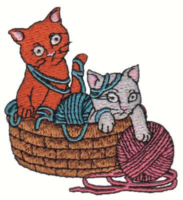 "Embroidery Design: Kittens & Yarn in Basket2.74"" x 3.01"""