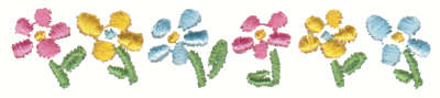 """Embroidery Design: Row of Flowers3.60"""" x 0.70"""""""
