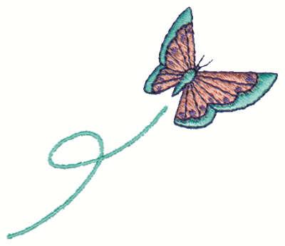 """Embroidery Design: Flying Butterfly3.00"""" x 2.63"""""""