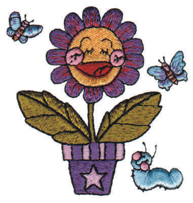 "Embroidery Design: Cheerful Potted Flower2.99"" x 3.10"""
