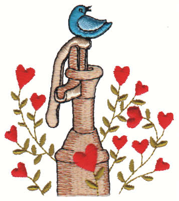 "Embroidery Design: Bluebird on Pump3.09"" x 3.37"""