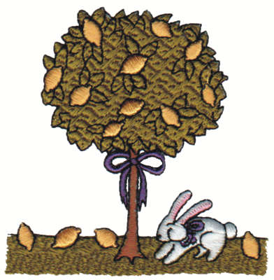"Embroidery Design: Rabbit Under Lemon Tree3.10"" x 3.11"""