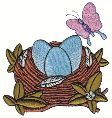 "Embroidery Design: Nest w/ Butterfly3.19"" x 3.14"""