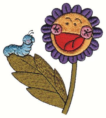 "Embroidery Design: Cheerful Flower w/ Caterpiller2.86"" x 3.32"""