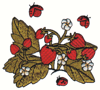 "Embroidery Design: Strawberry Plant3.00"" x 2.72"""
