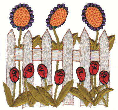 "Embroidery Design: Fence w/ Flowers3.09"" x 3.05"""