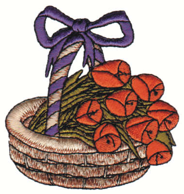 "Embroidery Design: Flower Basket2.94"" x 3.13"""