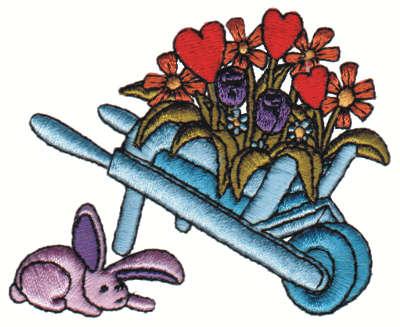 "Embroidery Design: Floral Wheelbarrow w/ Bunny3.25"" x 2.80"""