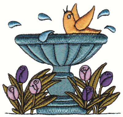 "Embroidery Design: Birdbath3.42"" x 3.23"""