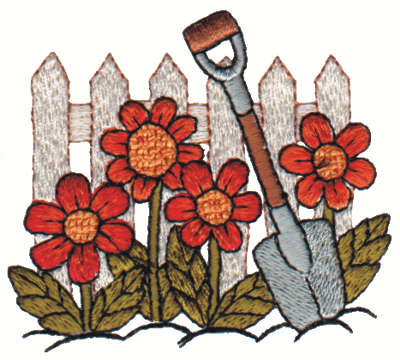 "Embroidery Design: Fence w/ Flowers & Shovel3.01"" x 2.65"""