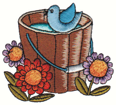"Embroidery Design: Bluebird on Bucket<br>3.18"" x 2.82"""