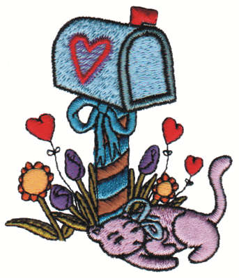 "Embroidery Design: Kitty's Mailbox2.77"" x 3.17"""