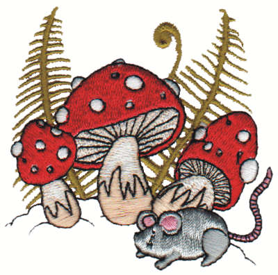 "Embroidery Design: Mushrooms N' Mouse2.95"" x 2.99"""