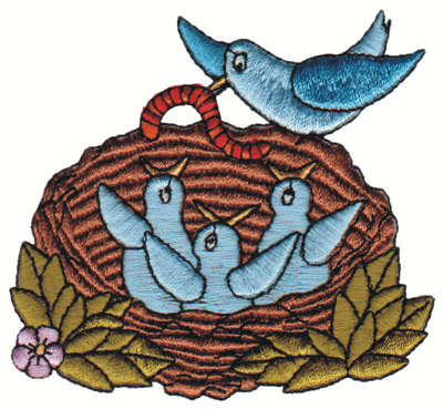 "Embroidery Design: Feeding Time3.36"" x 3.14"""