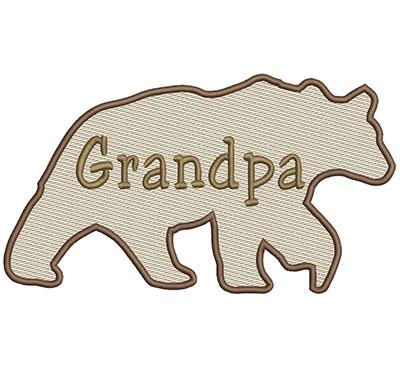 Embroidery Design: Grandpa Bear Lg 8.66w X 4.86h