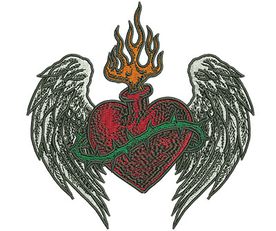 Embroidery Design: Gypsy Queen Wing Heart 4.44w X 4.50h