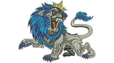 Embroidery Design: Roaring Lion Cartoon Lg 4.50w X 3.71h