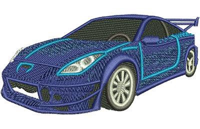 Embroidery Design: Blue Sports Car Med 3.97w X 2.05h