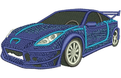 Embroidery Design: Blue Sports Car Sm 3.47w X 1.79h