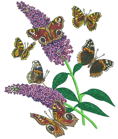 Embroidery Design: Butterflies And Flowers Lg 6.42w X 8.01h