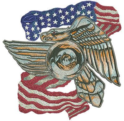 Embroidery Design: Metal Biker Eagle With Flag Lg 7.90w X 8.05h