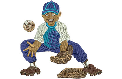 Embroidery Design: Second Baseman Med 3.73w X 3.57h