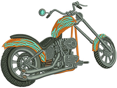 Embroidery Design: Rear View Chopper Lg 4.46w X 3.36h