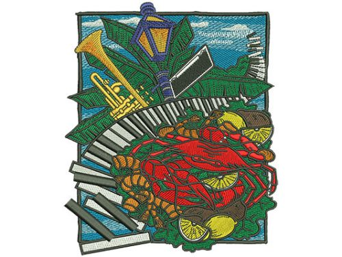Embroidery Design: Jazz And Seafood Sm 4.99w X 6.02h