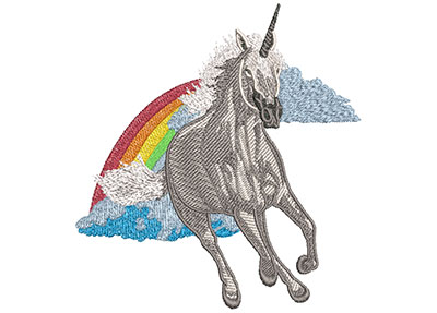 Embroidery Design: Unicorn Rainbow Med 4.99w X 5.01h
