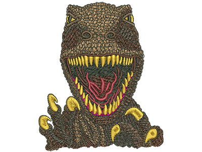 Embroidery Design: T-rex Face Med 3.33w X 4.03h