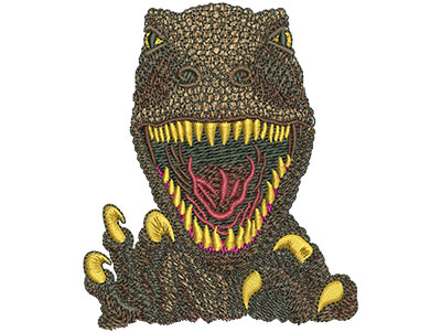 Embroidery Design: T-rex Face Sm 2.92w X 3.52h
