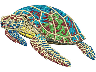 Embroidery Design: Sea Turtle With Babies Lg 4.50w X 2.99h