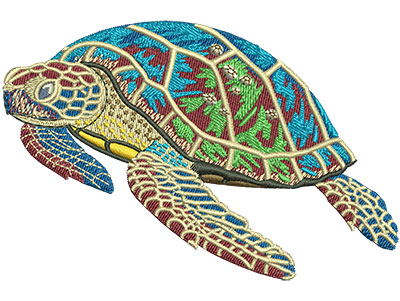 Embroidery Design: Sea Turtle With Babies Med 4.00w X 2.66h