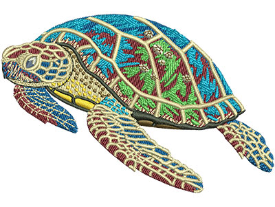 Embroidery Design: Sea Turtle With Babies Sm 3.50w X 2.33h