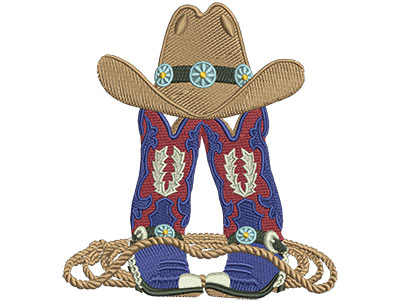 Embroidery Design: Boots Hat And Rope Lg 4.09w X 4.49h