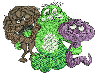 Embroidery Design: Cartoon Germ Monsters Lg 4.51w X 3.56h