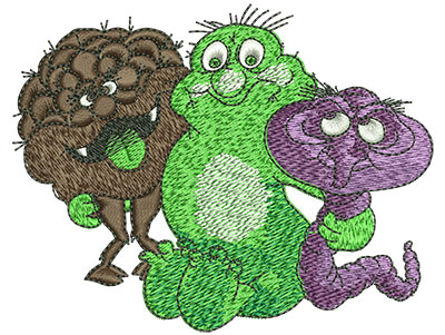Embroidery Design: Cartoon Germ Monsters Med 4.01w X 3.16h