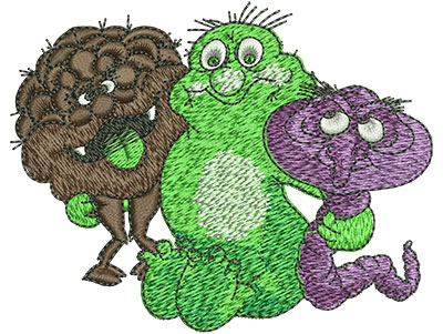 Embroidery Design: Cartoon Germ Monsters Sm 3.51w X 2.77h